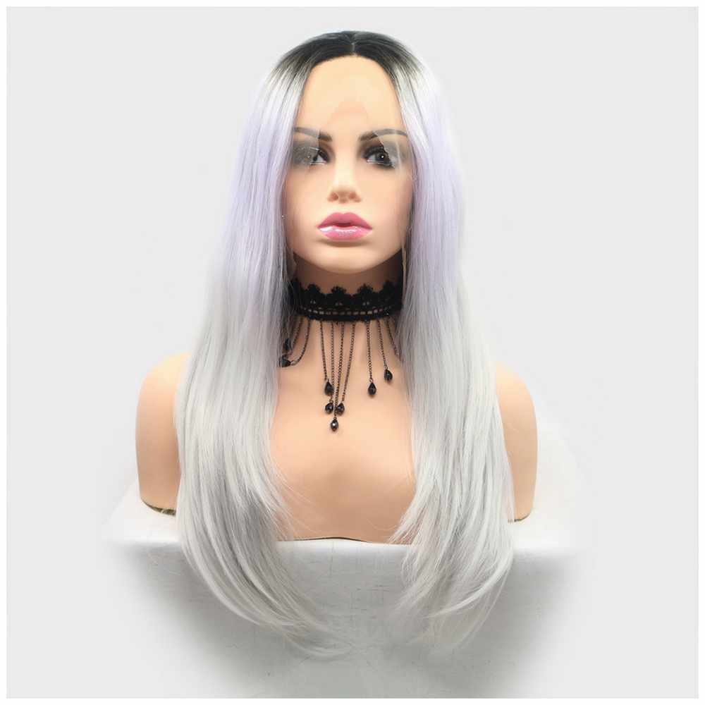 Rechoo White Ombre Straight Long Synthetic Lace Front Wig