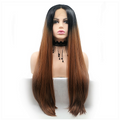 Rechoo Honey Brown Ombre Straight Long Synthetic Lace Front Wig