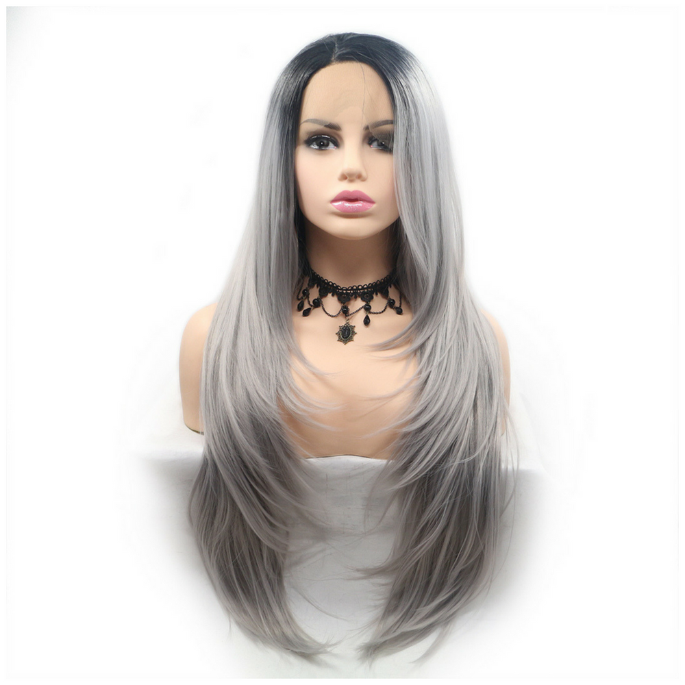 Rechoo Dark Root Grey Ombre Straight Synthetic Lace Front Wig
