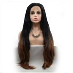 Rechoo Black To Brown Long Straight Synthetic Lace Front Wig