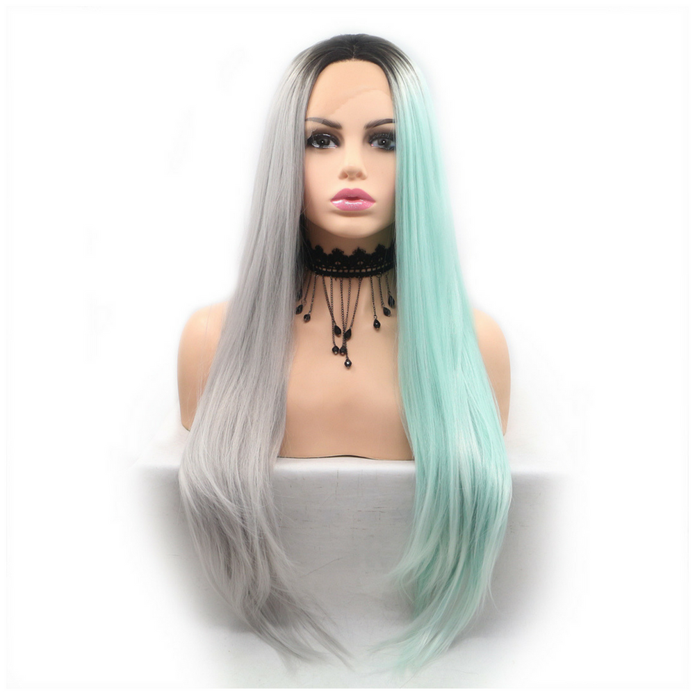 Rechoo Silver Grey/Green Silky Straight Synthetic Lace Front Wig