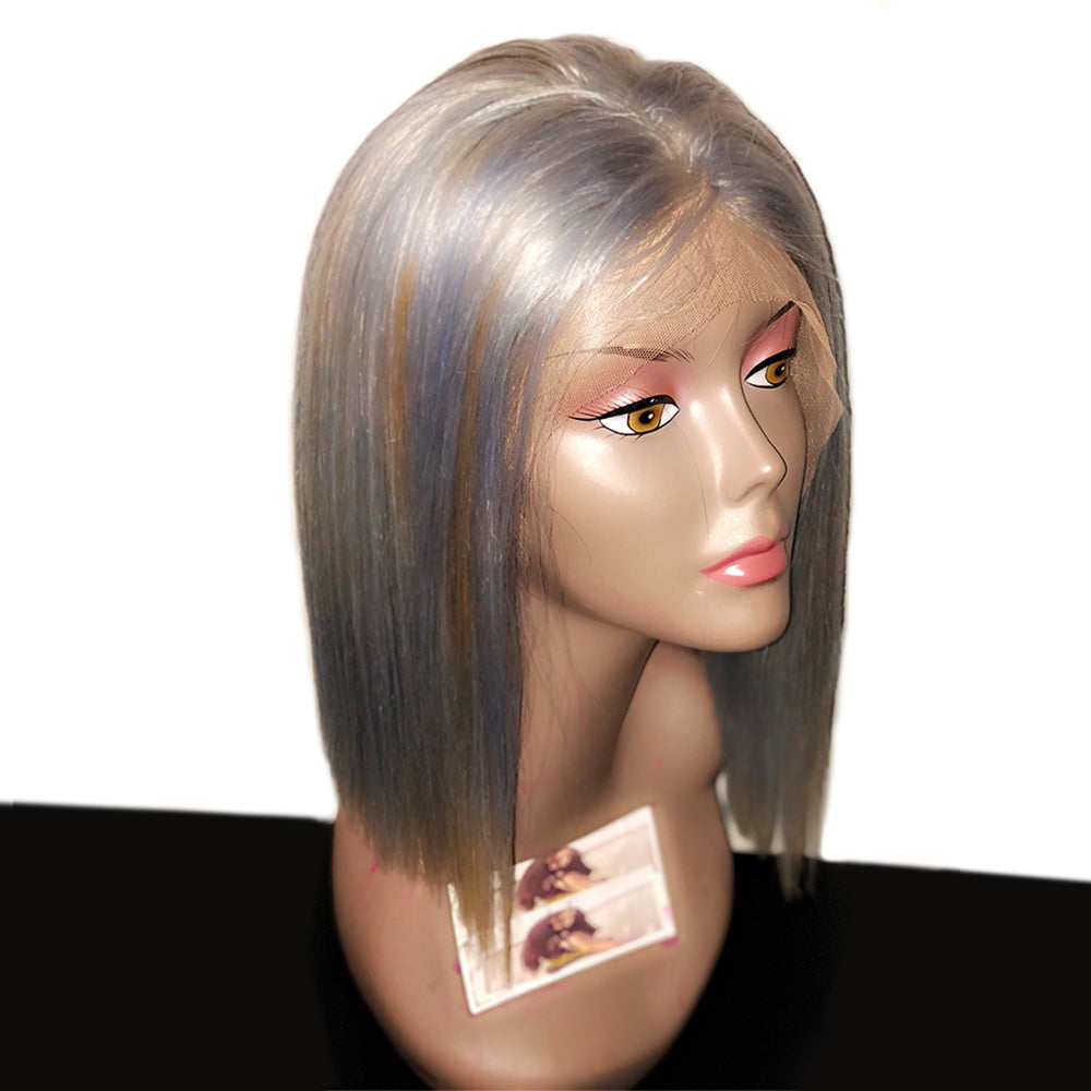Rechoo Ms. Silver Bob Human Lace Front Wig