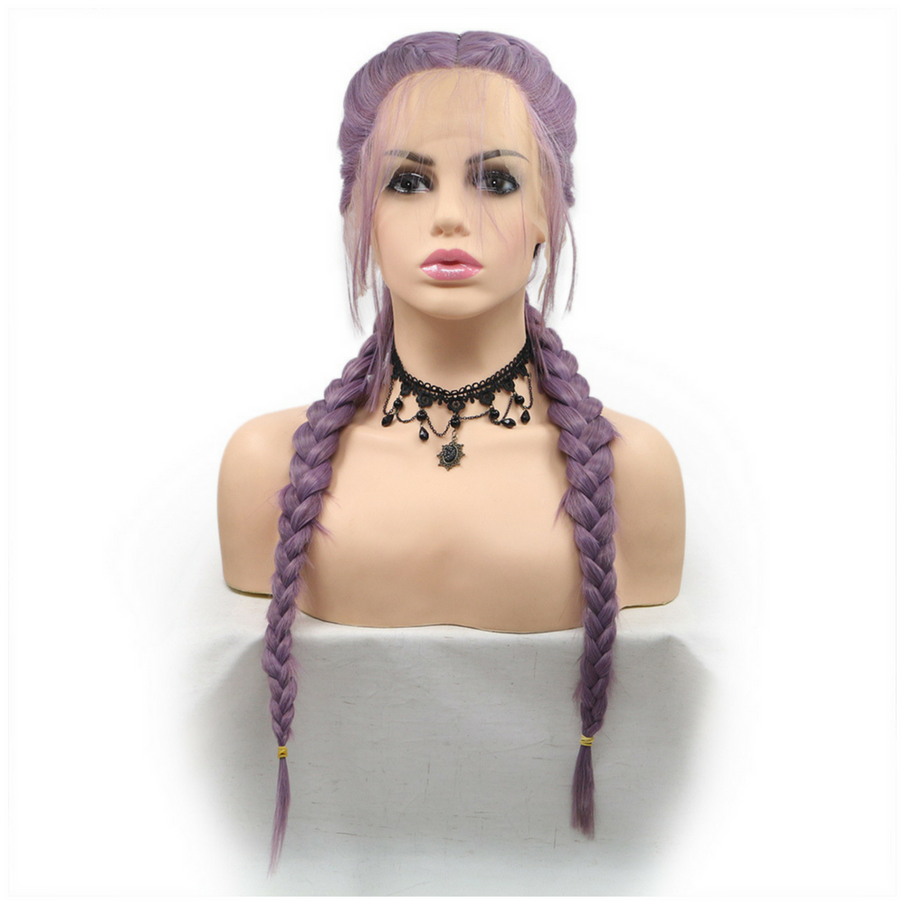 Rechoo Double Braids Purple Synthetic Lace Front Wigs With Baby Hair