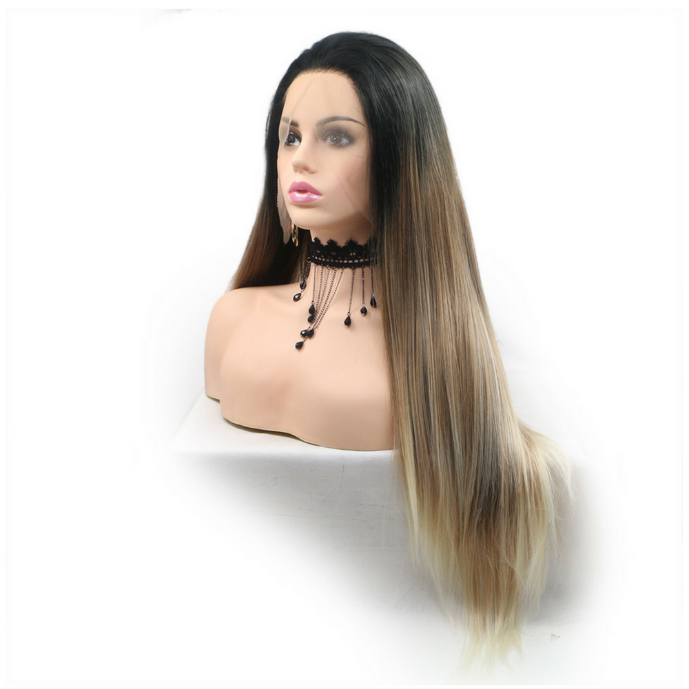 Rechoo Brown Ombre Long Silky Straight Synthetic Lace Front Wig