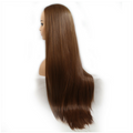 Rechoo Brown Long Straight Synthetic Lace Front Wig
