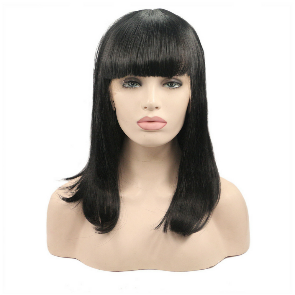 Rechoo Short Staight Bang Synthetic Lace Front Wig
