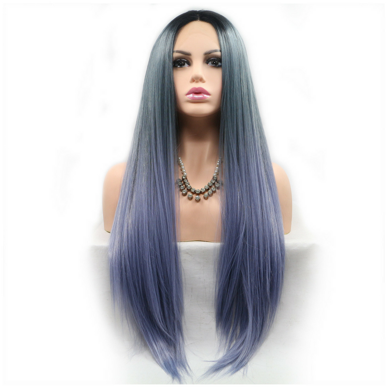 Ombre Three Colors Long Straight Cosplay Synthetic Lace Front Wig