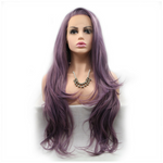 Rechoo Purple Long Wavy Synthetic Lace Front Wig