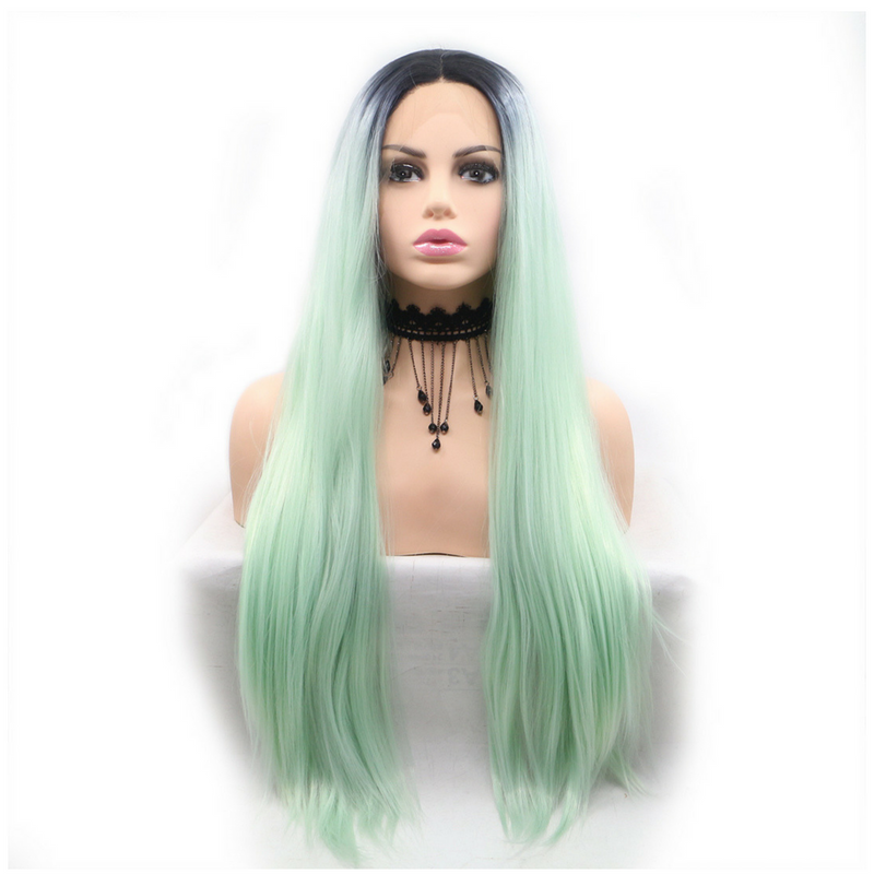 Rechoo Light Green Straight Long Synthetic Lace Front Wig