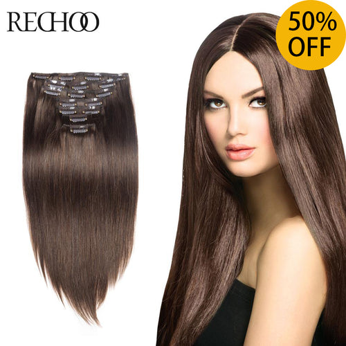 Rechoo Straight Clip In Hair Extensions 100g 7PCS
