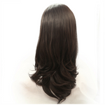 Rechoo Dark Brown Silky Straight Hand-tied Synthetic Lace Front Wig