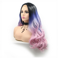 Rechoo Black/Blue/Pink Ombre Body Wavy Synthetic Lace Front Wig