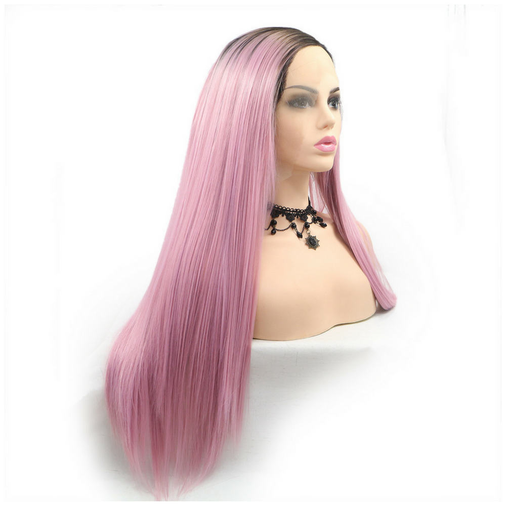 Rechoo Black Ombre Rose Straight Synthetic Lace Front Wigs