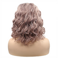 Rechoo Dusty Rose Gold Bob Wavy Synthetic Lace Front Wigs