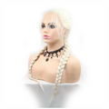 Rechoo White Blonde Double Braid Wig With Baby Hair Synthetic Lace Front Wigs