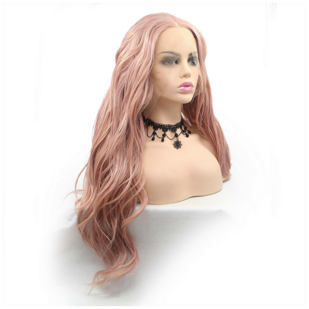 Rechoo Rose Gold Loose Wave Synthetic Lace Front Wig