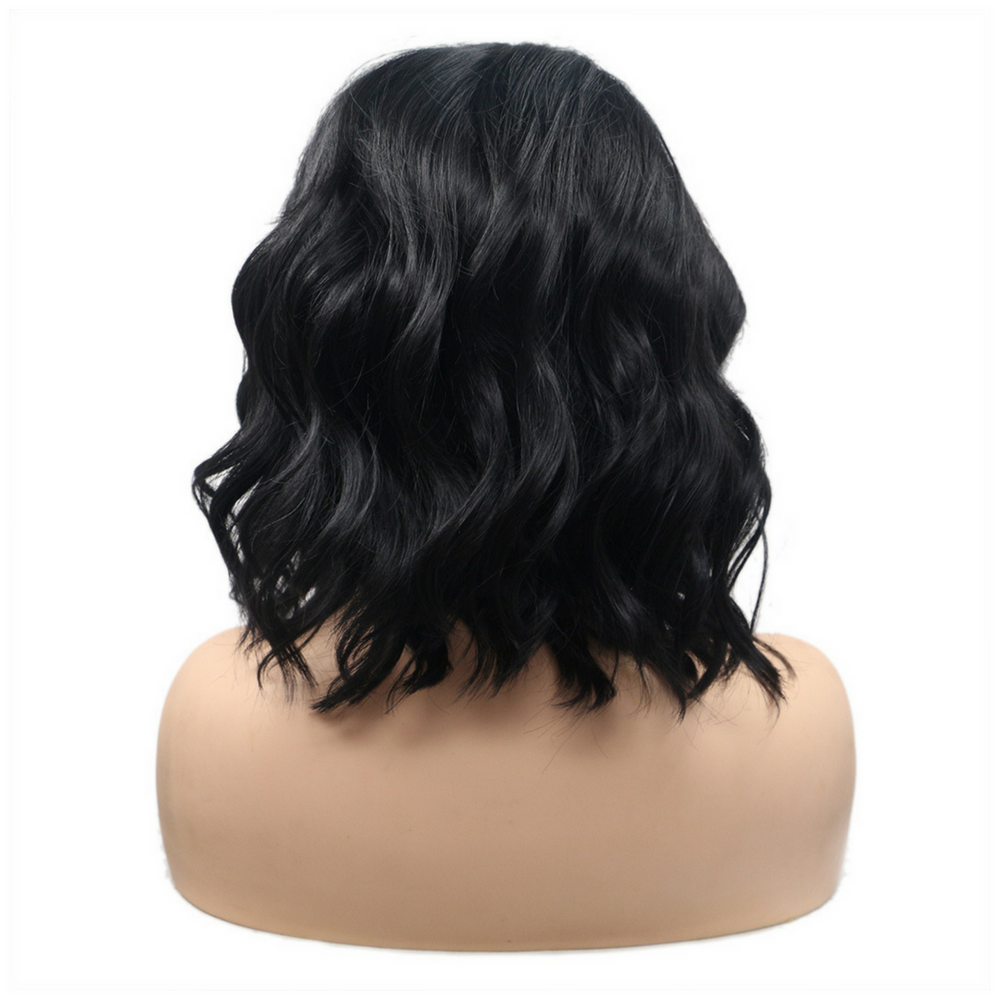 Rechoo Natural Black Bob Wavy Synthetic Lace Front Wigs