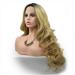 Rechoo Dark Root Blonde Wavy Synthetic Lace Front Wig