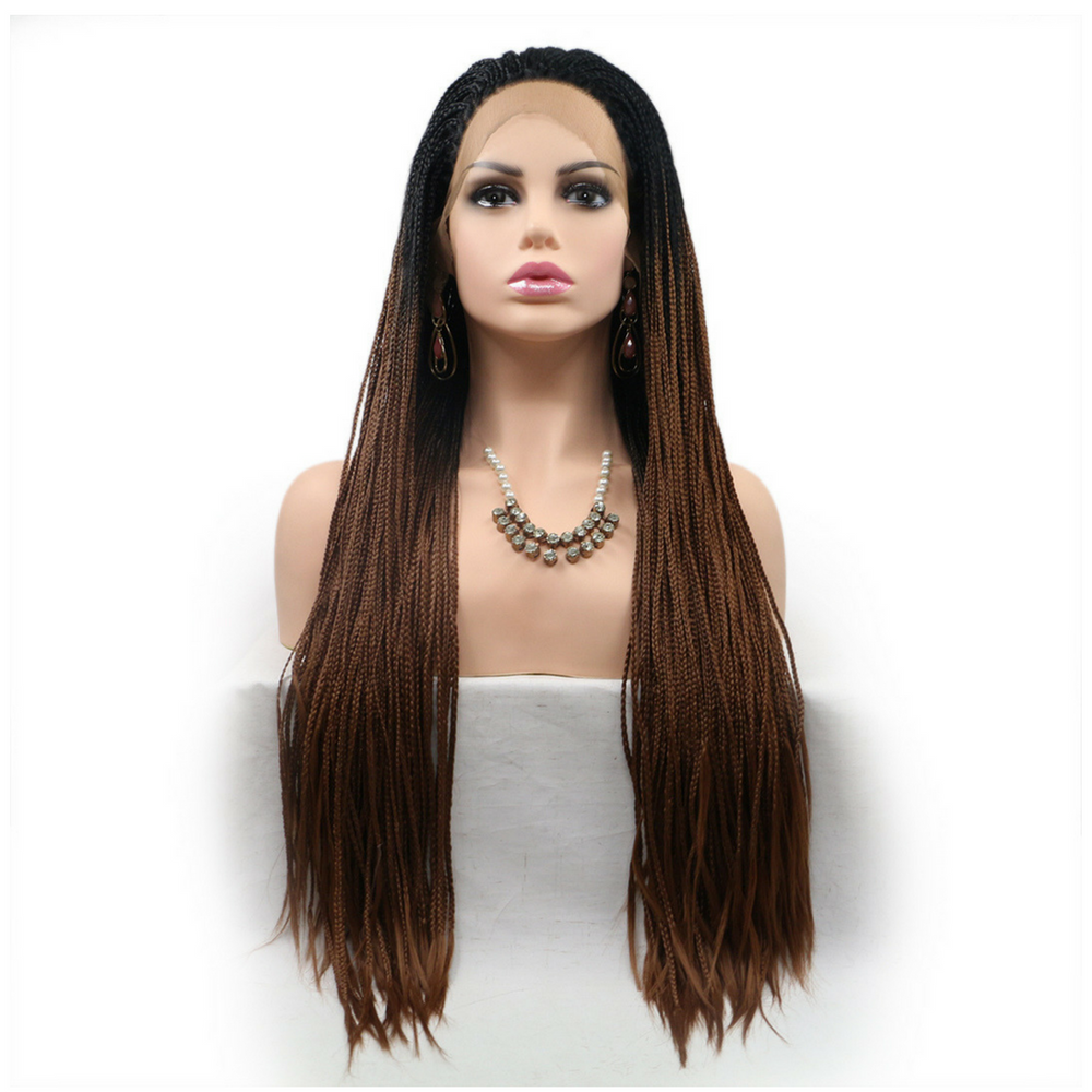 Rechoo Drak Root Brown Ombre Braiding Synthetic Lace Front Wig