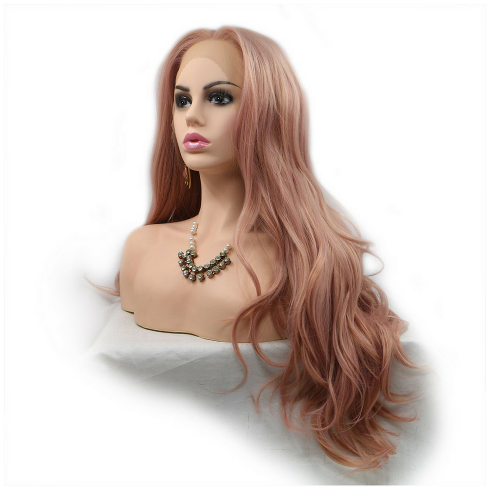 Rose Gold Body Wave Synthetic Lace Front Wig