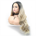 Rechoo Ombre Blonde Wavy Synthetic Lace Front Wigs