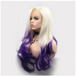 Rechoo White Purple Loose Wave Cosplay Synthetic Lace Front Wig
