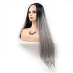 Dark Root Grey Long Straight Synthetic Lace Front Wig