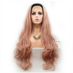 Rechoo Dark Root Rose Gold Loose Wave Synthetic Lace Front Wig