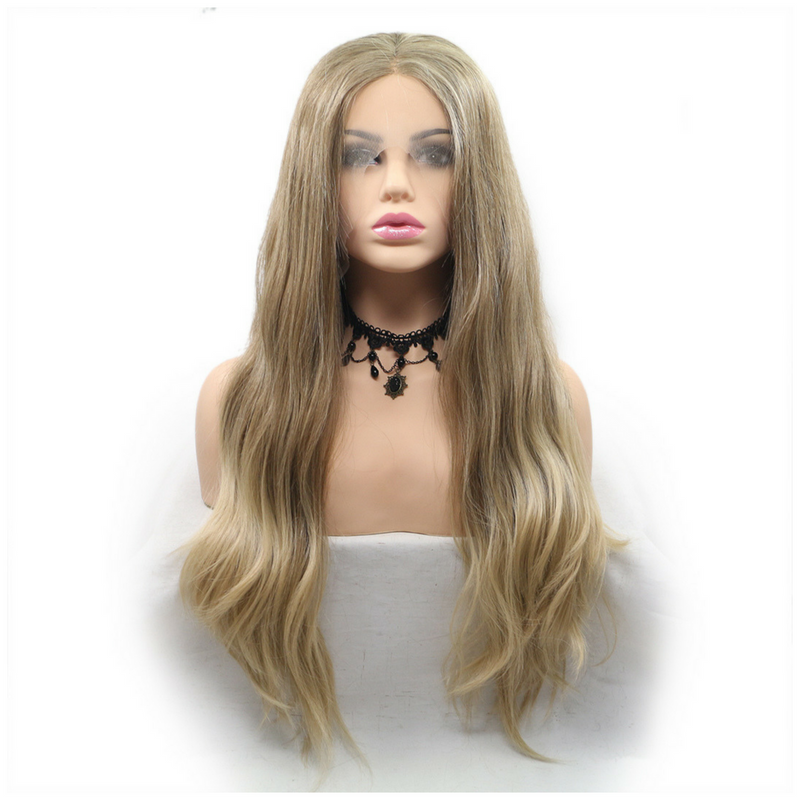 Rechoo Blonde Body Wavy Synthetic Lace Front Wigs
