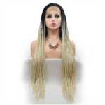 Rechoo Dark Root Blonde Ombre Braiding Synthetic Lace Front Wig
