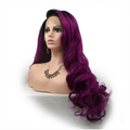 Rechoo Purple Body Wave Synthetic Lace Front Wig