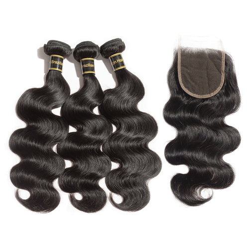 Rechoo 3 Bundles Body Wavy 6A Brazilian Virgin Hair 300g With 4*4 Body Wavy Free Part Closure