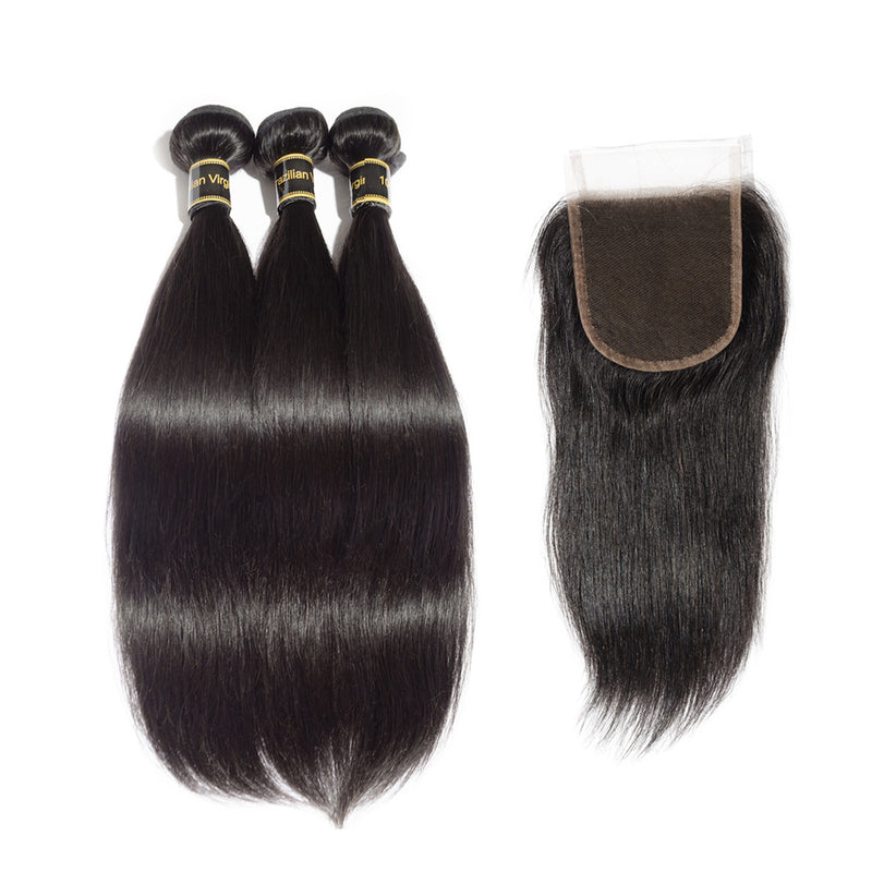Rechoo 3 Bundles Straight 6A Brazilian Virgin Hair 300g With 4*4 Straight Free Part Closure