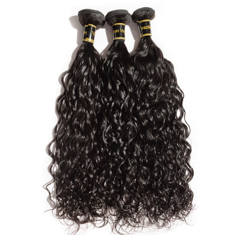 "Rechoo 10""-30"" 3 Bundles Natural Wavy 6A Virgin Brazilian Hair Natural Black 300g"