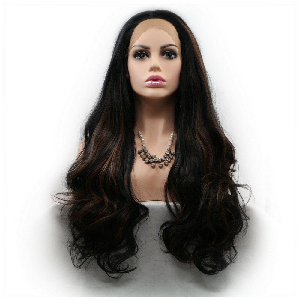 Rechoo Brown Highlights Body Wave Synthetic Lace Front Wig