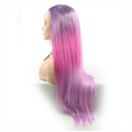 Rechoo Purple/Pink Ombre Silky Straight Synthetic Lace Front Wig