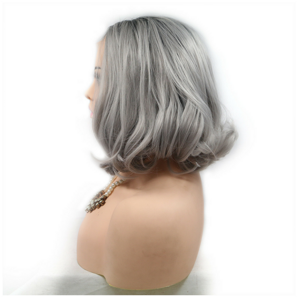 Rechoo Grey Dark Roots Ombre Silver Bob Synthetic Lace Front Wig (Back Inward)