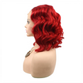 Rechoo Burgundy Body Wave Short Synthetic Lace Front Wig