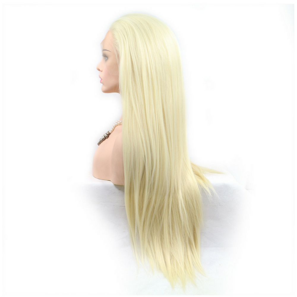 Rechoo Blonde Long Silky Straight Synthetic Lace Front Wig