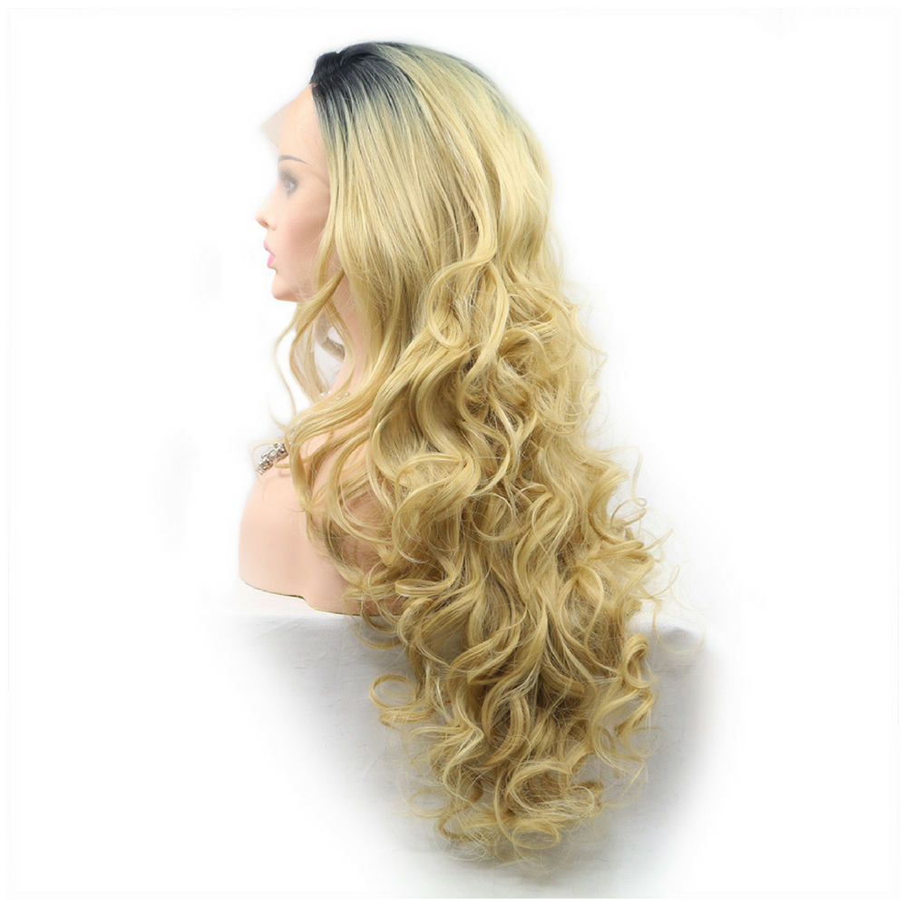 Dark Root Blonde Body Wave Synthetic Lace Front Wig