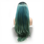 Rechoo Ombre Blue/Green Teal Synthetic Lace Front Party Cosplay Wig