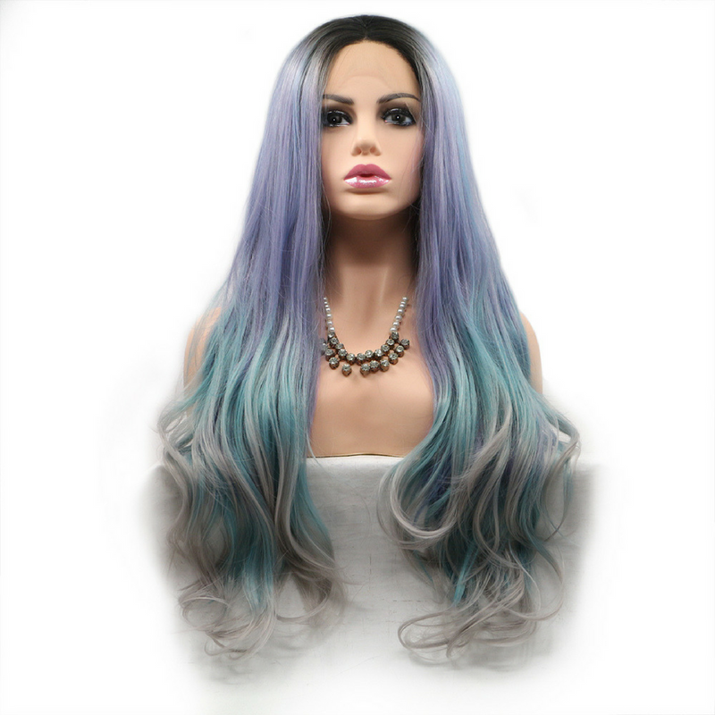 Rechoo Natural Wave Middle Part Purple/Blue Synthetic Lace Front Wigs
