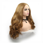 Rechoo Light Brown Body Wavy Synthetic Lace Front Wigs