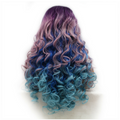 Rechoo Rainbow Wavy Cosplay Synthetic Lace Front Wig