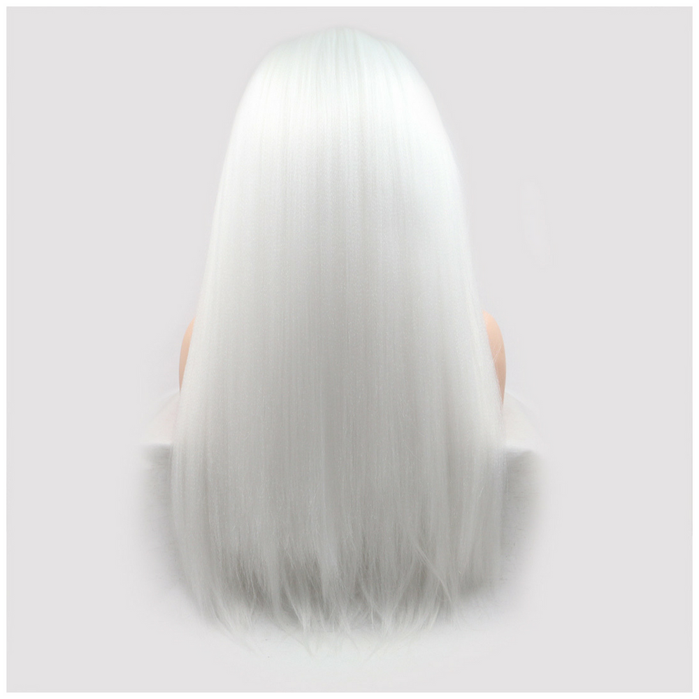 Rechoo White Straight Lace Front Synthetic Wig