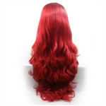 Rechoo red ombre body wavy synthetic lace front wig
