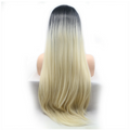 Rechoo Dark Root Blonde Long Silky Straight Synthetic Lace Front Wig