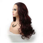 Rechoo Burgundy Body Wave Synthetic Lace Front Wig
