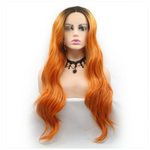 Dark Root Orange Loose Wavy Synthetic Lace Front Wig