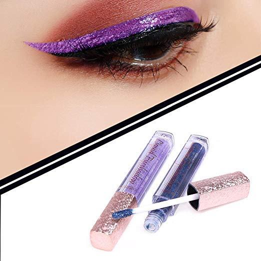 Glitter Liquid Eyeliner 12 Colors Precise All Day Makeup Waterproof Shimmer Eyeliners Lasting Waterproof Sparkling Colorful Eyeliner Eye Shadow